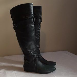 Black above the knee flat boots